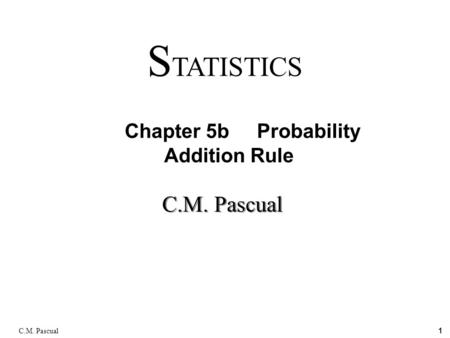 1 C.M. Pascual S TATISTICS Chapter 5b Probability Addition Rule.