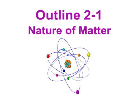 Outline 2-1 Nature of Matter. I. Matter is made of Atoms A. Atoms are the smallest units of matter that cannot be broken down by chemical means. 1. Named.