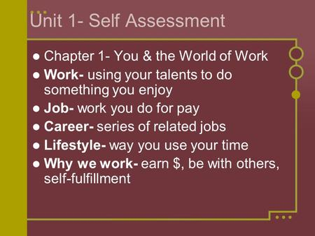 Unit 1- Self Assessment Chapter 1- You & the World of Work Work- using your talents to do something you enjoy Job- work you do for pay Career- series of.