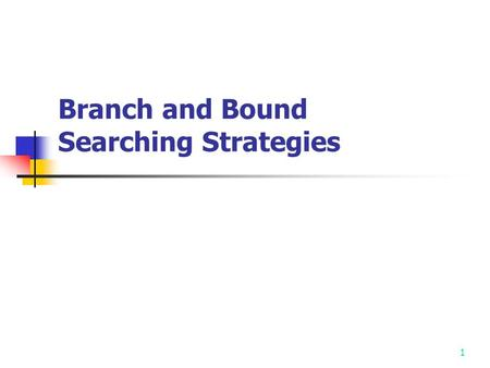 1 Branch and Bound Searching Strategies 2 Feasible Solution vs. Optimal Solution DFS, BFS, hill climbing and best-first search can not be used to solve.