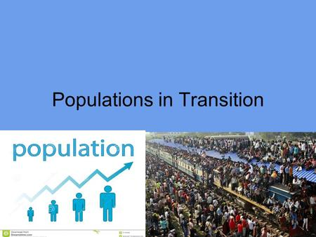 1 Populations in Transition. 2 World Population Growth World population is projected to increase to its peak of 10 – 12 billion by 2070. 95% of population.
