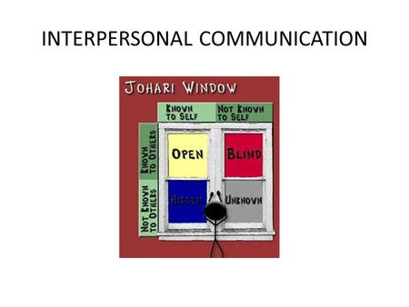 INTERPERSONAL COMMUNICATION. The Johari Window, named after the first names of its inventors, Joseph Luft and Harry Ingham, is one of the most useful.