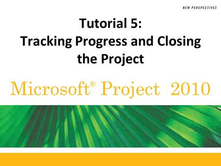 Microsoft Project 2010 ® Tutorial 5: Tracking Progress and Closing the Project.
