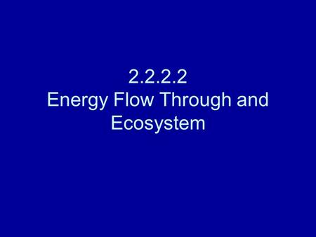 2.2.2.2 Energy Flow Through and Ecosystem. Energy in living systems Food chains, webs and pyramids, ultimately show energy flow Obey the laws of thermodynamics.