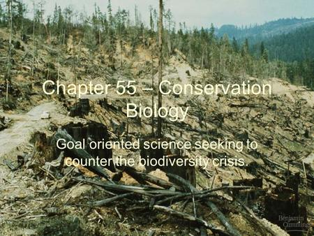 Chapter 55 – Conservation Biology Goal oriented science seeking to counter the biodiversity crisis.