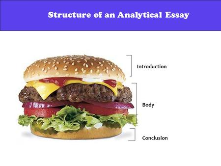 Structure of an Analytical Essay Introduction Body Conclusion Structure of an Analytical Essay.