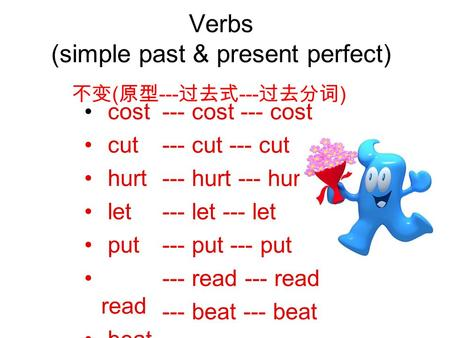 Verbs (simple past & present perfect) cost cut hurt let put read beat --- cost --- cut --- hurt --- let --- put --- read --- beat 不变 ( 原型 --- 过去式 --- 过去分词.
