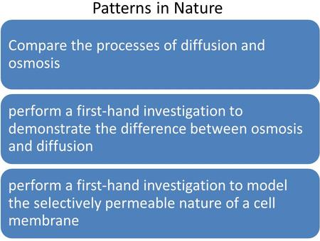 Patterns in Nature Compare the processes of diffusion and osmosis perform a first-hand investigation to demonstrate the difference between osmosis and.