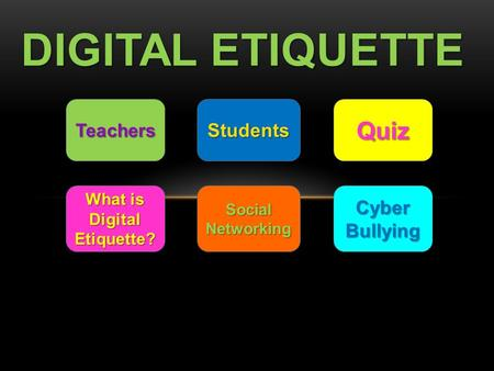DIGITAL ETIQUETTE Teachers Students Quiz What is Digital Etiquette? What is Digital Etiquette? Social Networking Social Networking Cyber Bullying Cyber.