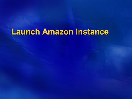 Launch Amazon Instance. Amazon EC2 Amazon Elastic Compute Cloud (Amazon EC2) provides resizable computing capacity in the Amazon Web Services (AWS) cloud.