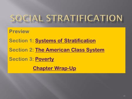 1 Preview Section 1: Systems of StratificationSystems of Stratification Section 2: The American Class SystemThe American Class System Section 3: PovertyPoverty.