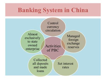 Banking System in China Activities of PBC Control currency circulation Managed foreign exchange reserves Set interest rates Collected all deposits and.
