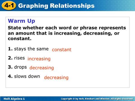Holt Algebra 1 4-1 Graphing Relationships Warm Up State whether each word or phrase represents an amount that is increasing, decreasing, or constant. 1.