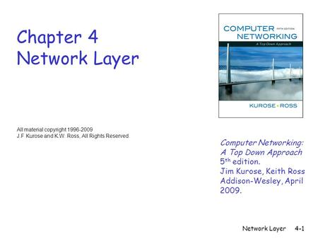 Network Layer4-1 Chapter 4 Network Layer All material copyright 1996-2009 J.F Kurose and K.W. Ross, All Rights Reserved Computer Networking: A Top Down.