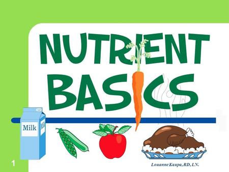 1 Louanne Kaupa, RD, LN.. ©2002 Learning Zone Express 2 Nutrients  The food you eat is a source of nutrients. Nutrients are defined as the substances.