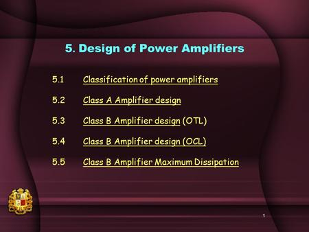 5. Design of Power Amplifiers