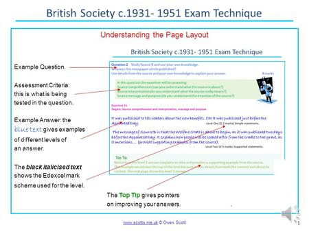 British Society c.1931- 1951 Exam Technique 1 www.scotts.me.ukwww.scotts.me.uk © Owen Scott Understanding the Page Layout Example Question. Assessment.