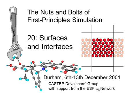Durham, 6th-13th December 2001 CASTEP Developers' Group with support from the ESF  k Network The Nuts and Bolts of First-Principles Simulation 20: Surfaces.