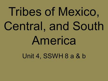 Tribes of Mexico, Central, and South America Unit 4, SSWH 8 a & b.