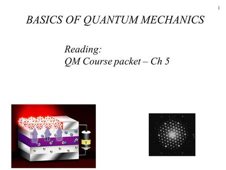 1 Reading: QM Course packet – Ch 5 BASICS OF QUANTUM MECHANICS.