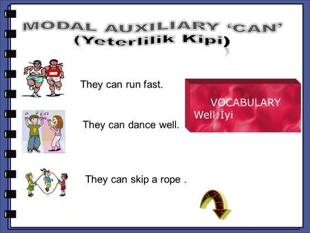 They can run fast. They can run fast. VOCABULARY Well:İyi They can dance well. They can dance well. They can skip a rope. They can skip a rope.