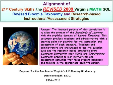 Alignment of 21 st Century Skills, the REVISED 2009 Virginia MATH SOL, Revised Bloom's Taxonomy and Research-based Instructional/Assessment Strategies.