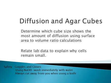 Determine which cube size shows the most amount of diffusion using surface area to volume ratio calculations Relate lab data to explain why cells remain.
