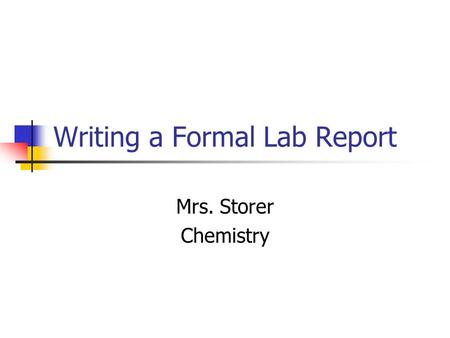 Writing lab reports for chemistry