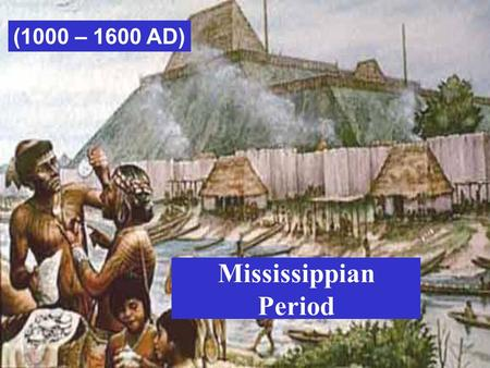 Mississippian Period (1000 – 1600 AD). Existed after the Woodland period beginning about 900 CE Were farmers living in the Southeast Period lasted until.