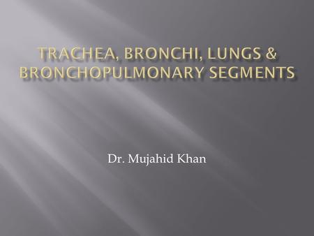 Dr. Mujahid Khan.  The trachea is a mobile cartilaginous and membranous tube  It begins in the neck as a continuation of the larynx at the lower border.