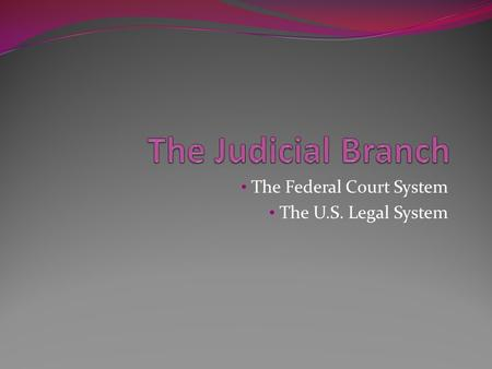 The Federal Court System The U.S. Legal System. Role of Court Resolve disputes Interpret the law Set guidelines for similar future legal cases.