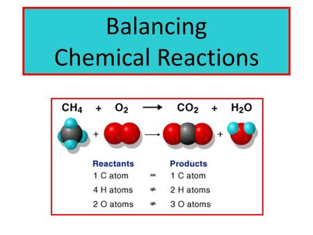 Balancing Chemical Reactions. Balanced Chemical Equation Atoms can't be created or destroyed (All the atoms we start with we must end up with) A balanced.
