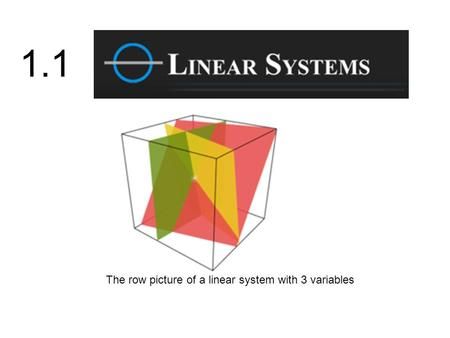 1.1 The row picture of a linear system with 3 variables.
