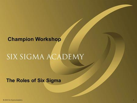 © 2003 Six Sigma Academy0 The Roles of Six Sigma Champion Workshop.