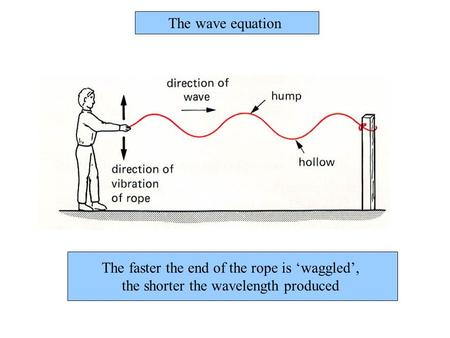 The faster the end of the rope is 'waggled', the shorter the wavelength produced The wave equation.