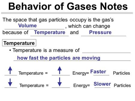 Behavior of Gases Notes The space that gas particles occupy is the gas's, which can change because of and Temperature Temperature is a measure of Temperature.
