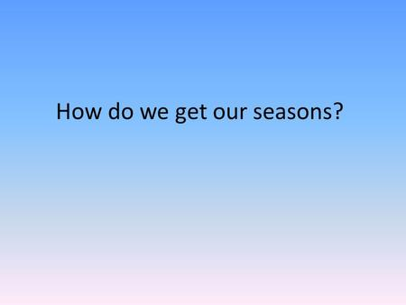 How do we get our seasons?. The AXIS is important! The axis is the imaginary line through Earth from the North Pole to the South Pole. The earth spins.