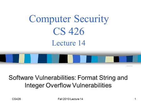 CS426Fall 2010/Lecture 141 Computer Security CS 426 Lecture 14 Software Vulnerabilities: Format String and Integer Overflow Vulnerabilities.