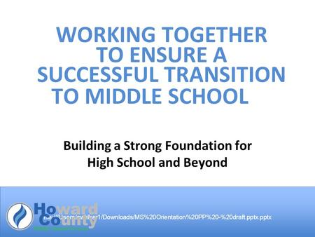 File:///Users/cwalker1/Downloads/MS%20Orientation%20PP%20-%20draft.pptx.pptx WORKING TOGETHER TO ENSURE A SUCCESSFUL TRANSITION TO MIDDLE SCHOOL Building.