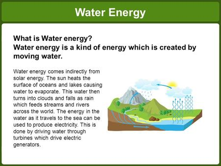 Water Energy What is Water energy? Water energy is a kind of energy which is created by moving water. Water energy comes indirectly from solar energy.
