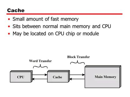 Cache Small amount of fast memory Sits between normal main memory and CPU May be located on CPU chip or module.