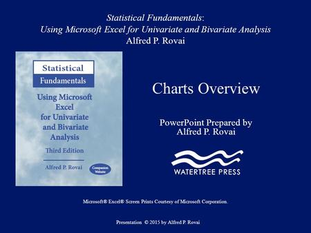 Statistical Fundamentals: Using Microsoft Excel for Univariate and Bivariate Analysis Alfred P. Rovai Charts Overview PowerPoint Prepared by Alfred P.