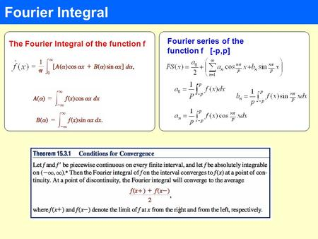 Fourier Integral Fourier series of the function f [-p,p] The Fourier Integral of the function f.