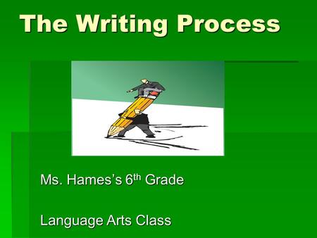 The Writing Process Ms. Hames's 6 th Grade Language Arts Class.