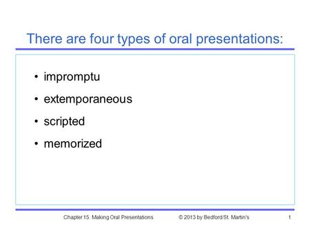 Chapter 15. Making Oral Presentations © 2013 by Bedford/St. Martin's1 impromptu extemporaneous scripted memorized There are four types of oral presentations: