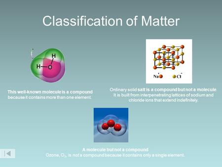 Classification of Matter This well-known molecule is a compound because it contains more than one element. A molecule but not a compound Ozone, O 3, is.