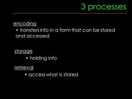 3 processes encoding transfers info in a form that can be stored and accessed storage holding info retrieval access what is stored.