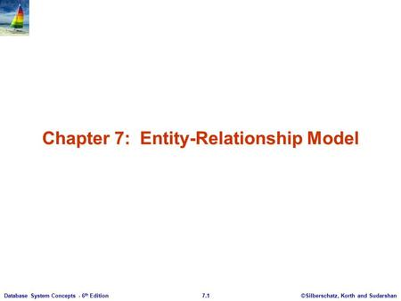 ©Silberschatz, Korth and Sudarshan7.1Database System Concepts - 6 th Edition Chapter 7: Entity-Relationship Model.