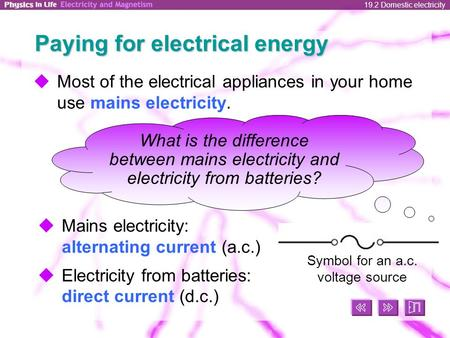 19.2 Domestic electricity Paying for electrical energy  Most of the electrical appliances in your home use mains electricity.  Mains electricity: alternating.