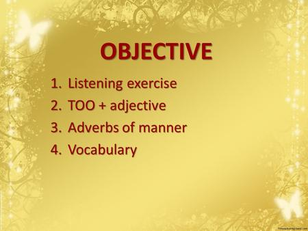 OBJECTIVE 1.Listening exercise 2.TOO + adjective 3.Adverbs of manner 4.Vocabulary.
